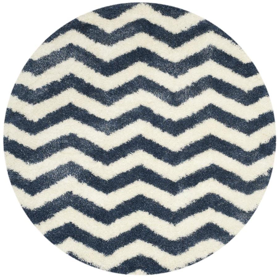 Safavieh Montreal Neuville Shag Ivory/Blue Round Indoor Area Rug (Common: 7 x 7; Actual: 6.6-ft W x 6.6-ft L x 6.6-ft dia)