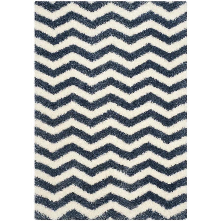 Safavieh Montreal Neuville Shag Ivory/Blue Rectangular Indoor Area Rug (Common: 5 x 8; Actual: 5.3-ft W x 7.5-ft L)