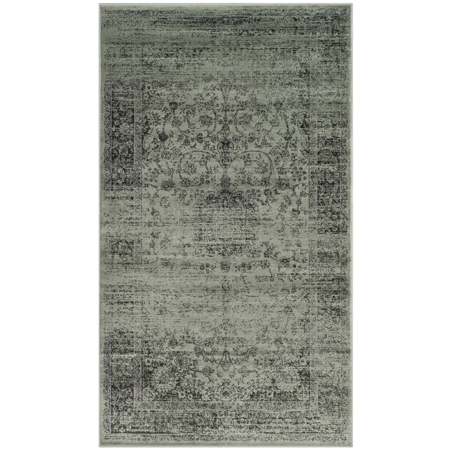 Safavieh Vintage Alhia Spruce/Ivory Indoor Distressed Throw Rug (Common: 3 x 5; Actual: 3.25-ft W x 5.6-ft L)