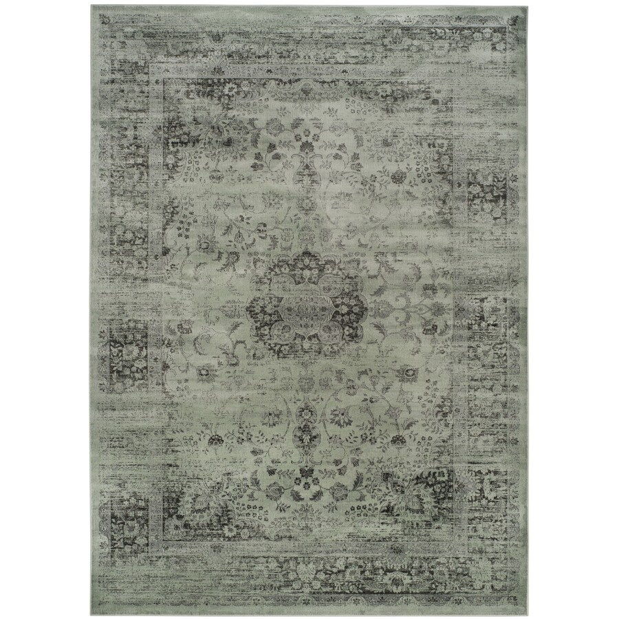 Safavieh Vintage Alhia Spruce/Ivory Rectangular Indoor Machine-made Distressed Area Rug (Common: 8 x 11; Actual: 8-ft W x 11.2-ft L)