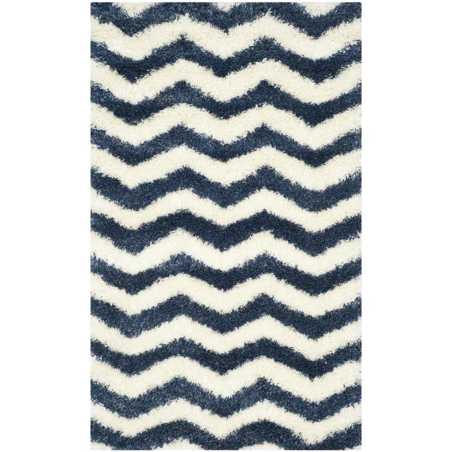 Safavieh Montreal Neuville Shag Ivory/Blue Rectangular Indoor Throw Rug (Common: 3 x 5; Actual: 3-ft W x 5-ft L)