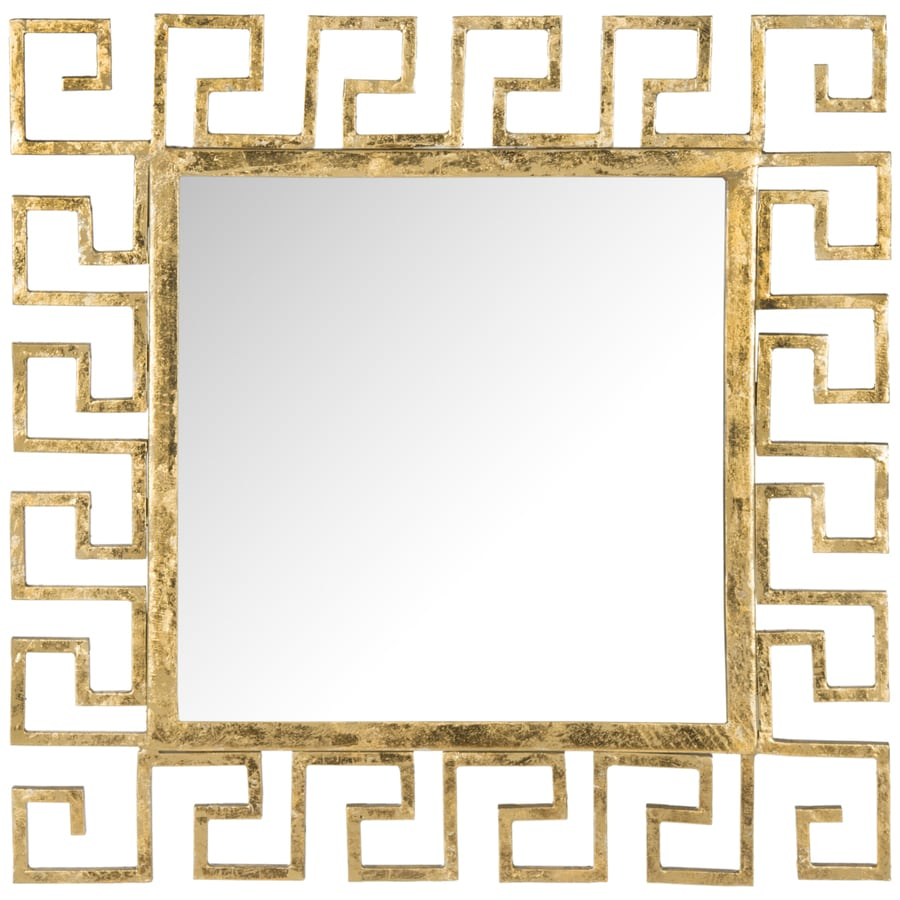 Safavieh Calliope Greek Key Antique Gold Polished Square Wall Mirror