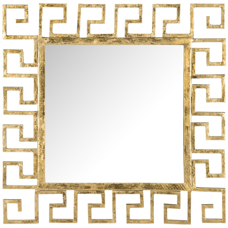 Safavieh 23-in x 23-in Antique Gold Polished Square Framed Contemporary Wall Mirror