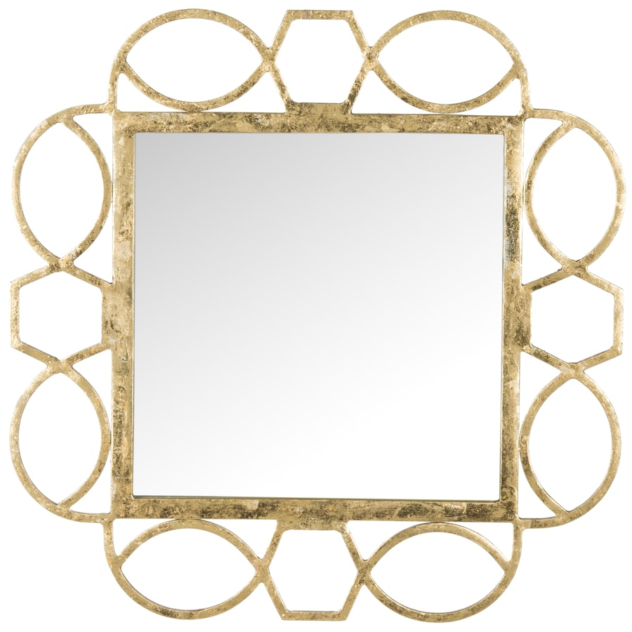 Safavieh 24-in x 24-in Antique Gold Polished Square Framed Contemporary Wall Mirror