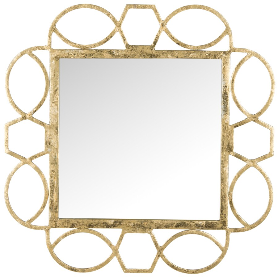 Safavieh Alexandria Fretwork Antique Gold Polished Square Wall Mirror
