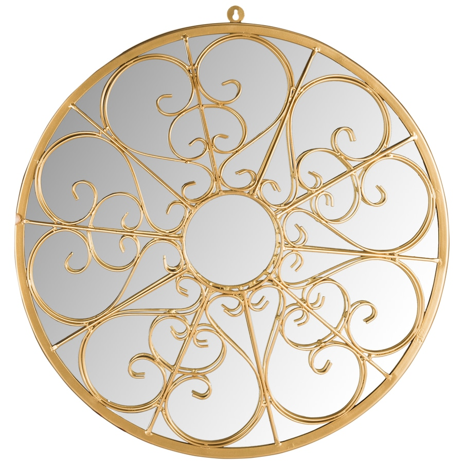 Safavieh 26-in x 26-in Gold Polished Round Framed Contemporary Wall Mirror