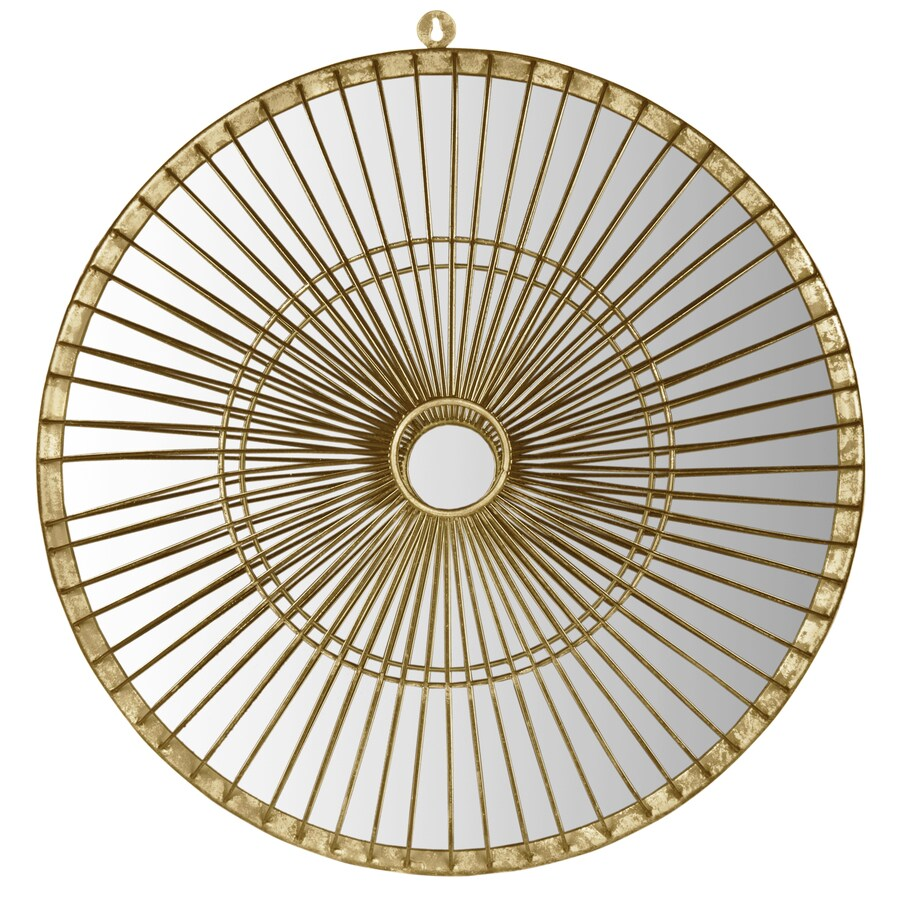 Safavieh 22-in x 22-in Gold Polished Round Framed Contemporary Wall Mirror