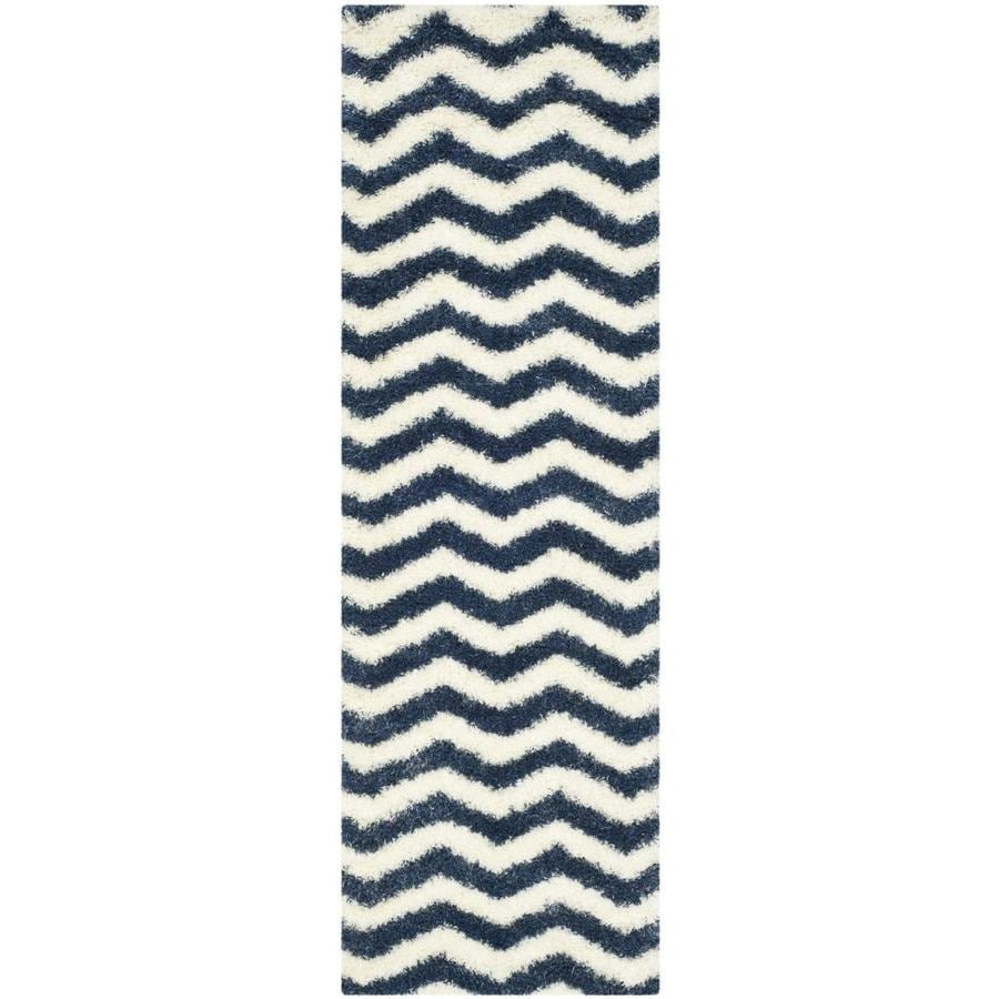 Safavieh Montreal Neuville Shag Ivory/Blue Rectangular Indoor Runner (Common: 2 x 7; Actual: 2.3-ft W x 7-ft L)