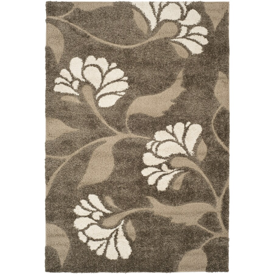 Safavieh Florida Shag Smoke/Beige Rectangular Indoor Machine-Made Tropical Area Rug (Common: 8X11; Actual: 8.5-ft W x 12-ft L)
