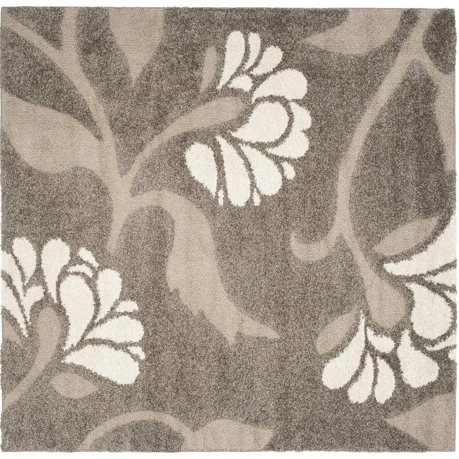 Safavieh Koi Shag Smoke/Beige Square Indoor Tropical Area Rug (Common: 7 x 7; Actual: 6.7-ft W x 6.6-ft L)
