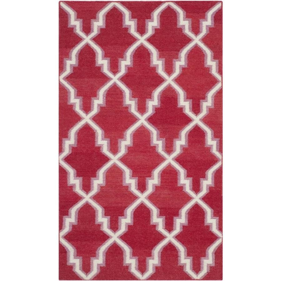 Safavieh Dhurries Red and Ivory Rectangular Indoor Woven Throw Rug (Common: 3 x 5; Actual: 36-in W x 60-in L x 0.33-ft Dia)