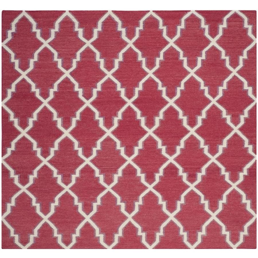 Safavieh Dhurries Redivy Red/Ivory Square Indoor Handcrafted Southwestern Area Rug (Common: 6 x 6; Actual: 6-ft W x 6-ft L)
