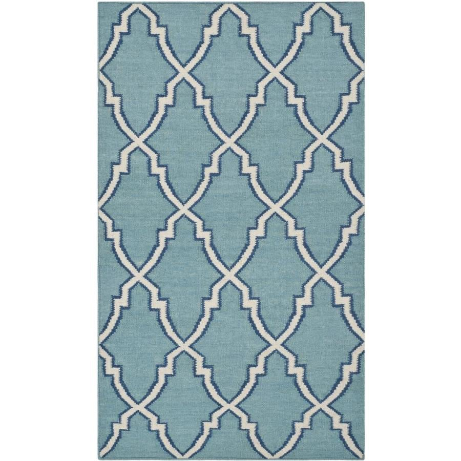 Safavieh Dhurries Redivy Light Blue/Ivory Indoor Handcrafted Southwestern Throw Rug (Common: 3 x 5; Actual: 3-ft W x 5-ft L)
