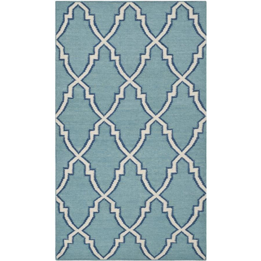 Safavieh Dhurries Light Blue/Ivory Rectangular Indoor Handcrafted Southwestern Area Rug (Common: 4 x 6; Actual: 4-ft W x 6-ft L)