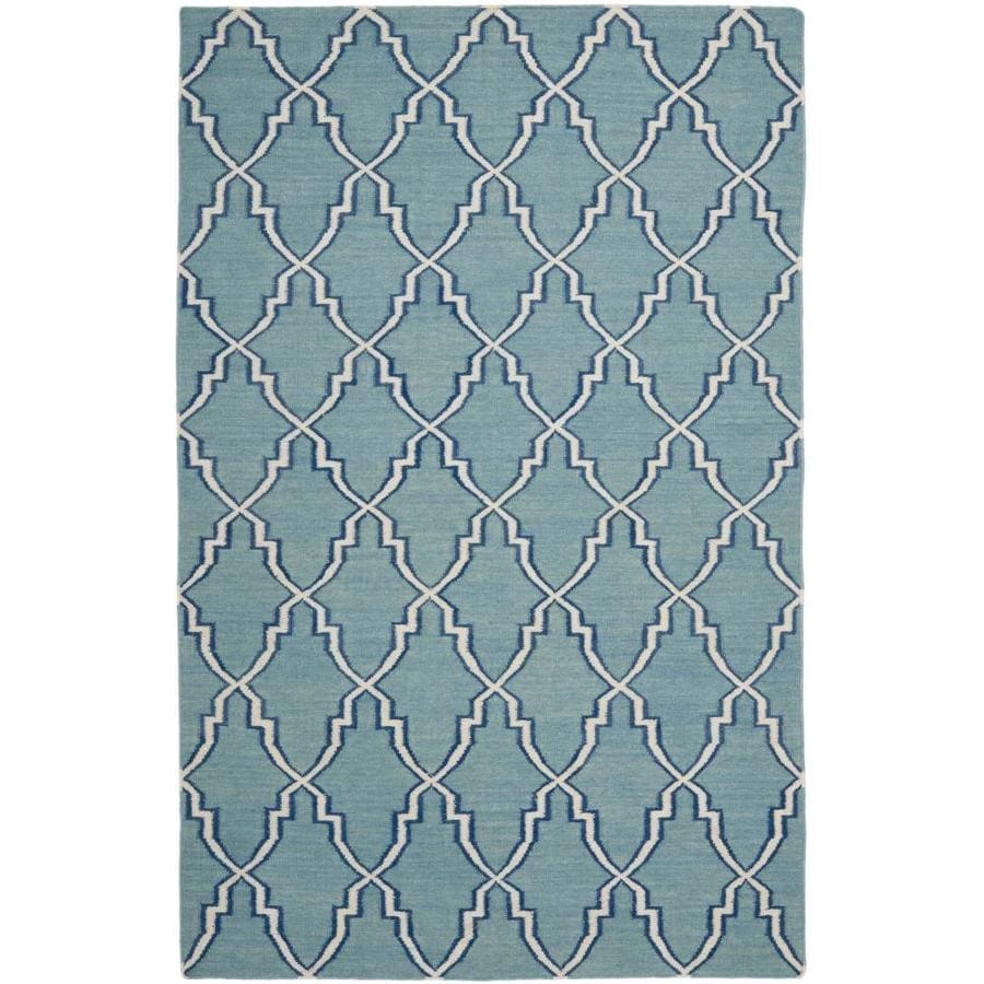 Safavieh Dhurries Redivy Light Blue/Ivory Rectangular Indoor Handcrafted Southwestern Area Rug (Common: 5 x 7; Actual: 5-ft W x 8-ft L)