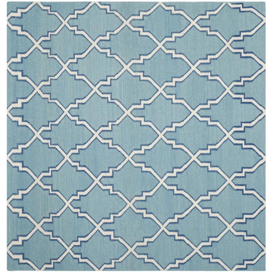 Safavieh Dhurries Redivy Light Blue/Ivory Square Indoor Handcrafted Southwestern Area Rug (Common: 6 x 6; Actual: 6-ft W x 6-ft L)