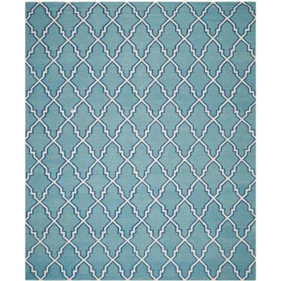Safavieh Dhurries Light Blue/Ivory Rectangular Indoor Handcrafted Southwestern Area Rug (Common: 8 x 10; Actual: 8-ft W x 10-ft L)
