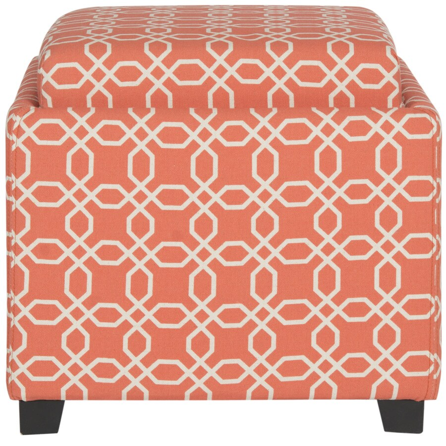 Safavieh Harrison Single Casual Orange/White Storage Ottoman