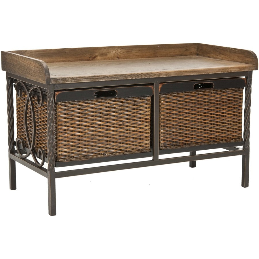 Safavieh Noah Transitional Pewter/Oak Accent Bench