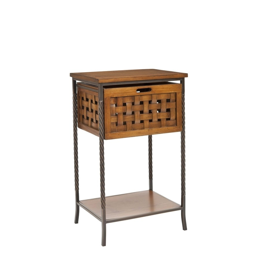 Safavieh American Home Antique Pewter/Honey Oak Pine Square End Table