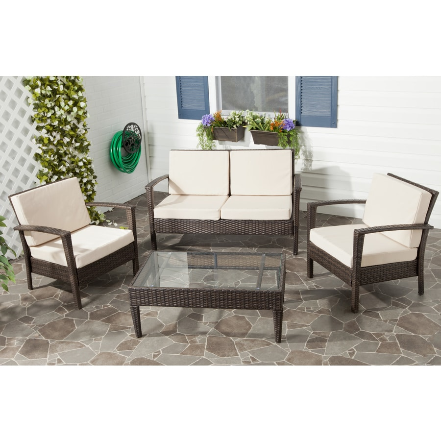 Safavieh 4-Piece Wicker Patio Conversation Set