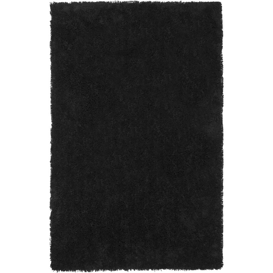 Safavieh Shag Black Rectangular Indoor Tufted Throw Rug (Common: 3 x 5; Actual: 36-in W x 60-in L x 0.58-ft Dia)