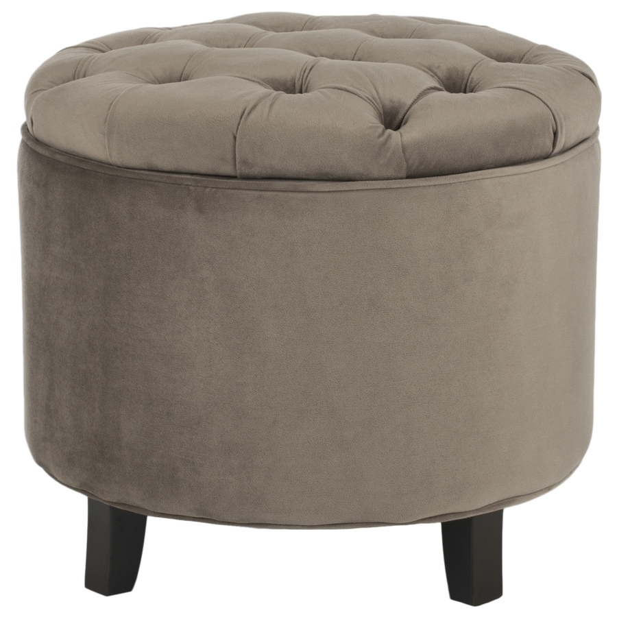 shop safavieh amelia casual dark mushroom taupe round storage ottoman at. Black Bedroom Furniture Sets. Home Design Ideas