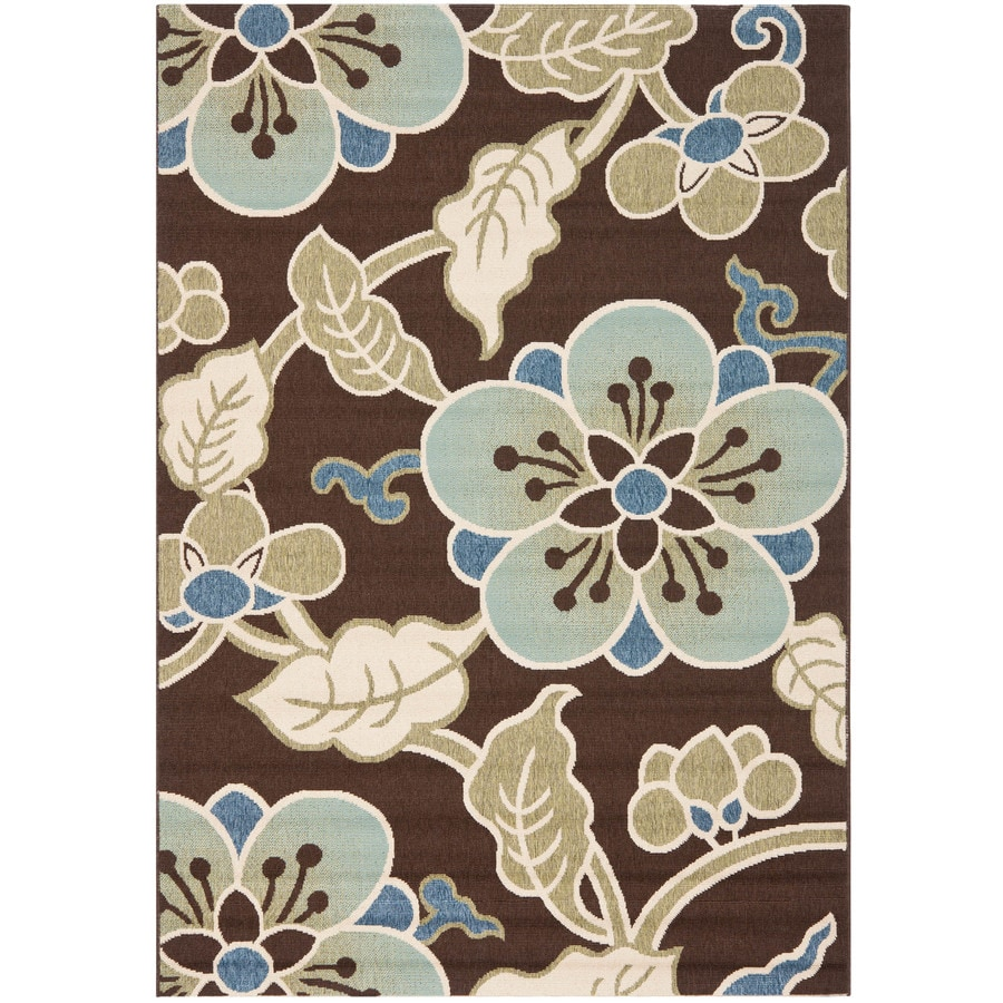 Safavieh Veranda Garden Chocolate/Aqua Rectangular Indoor Machine-made Throw Rug (Common: 2 x 6; Actual: 2.6-ft W x 5-ft L)