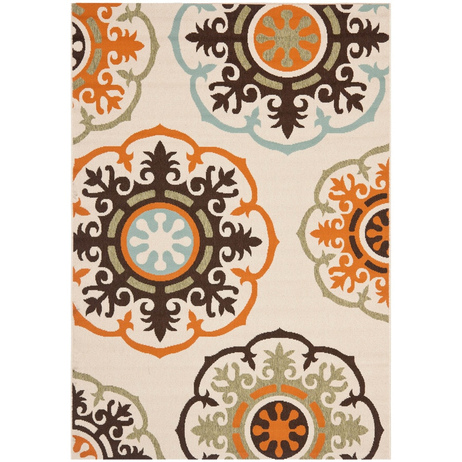 Safavieh Veranda Cream/Terracotta Rectangular Indoor Machine-Made Throw Rug (Common: 3 x 5; Actual: 0.33-ft W x 2.58-ft L x 0.33-ft Dia)