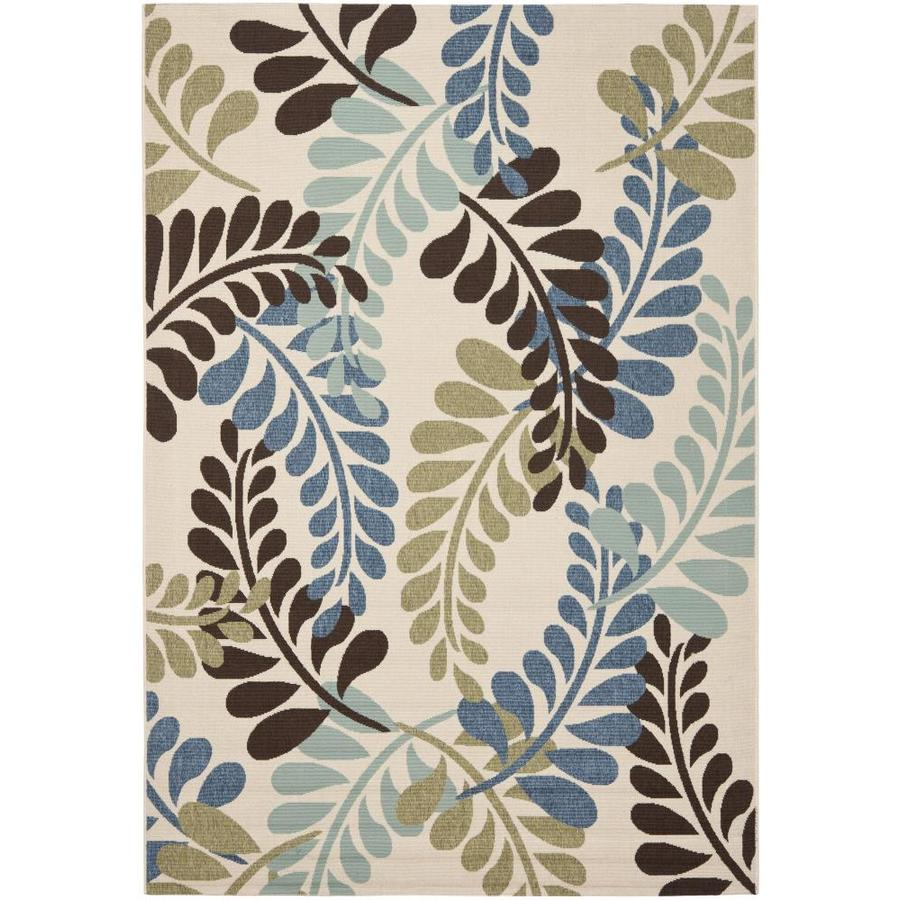 Safavieh Veranda Fern Cream/Aqua Rectangular Indoor Machine-made Area Rug (Common: 4 x 6; Actual: 3.5-ft W x 5.6-ft L)