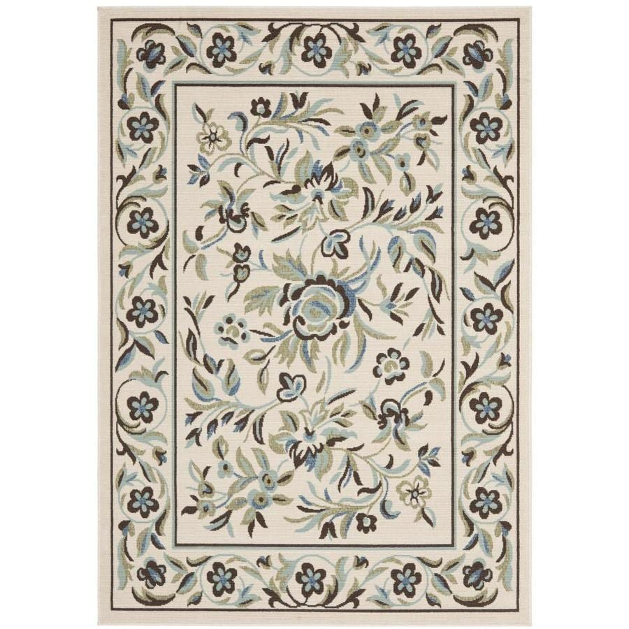 Safavieh Veranda Flora Cream/Green Rectangular Indoor Machine-made Area Rug (Common: 4 x 6; Actual: 3.5-ft W x 5.6-ft L)