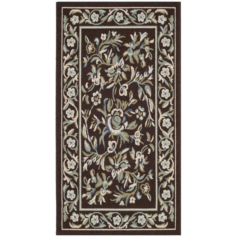 Safavieh Veranda Flora Chocolate/Aqua Rectangular Indoor Machine-made Area Rug (Common: 4 x 6; Actual: 3.5-ft W x 5.6-ft L)