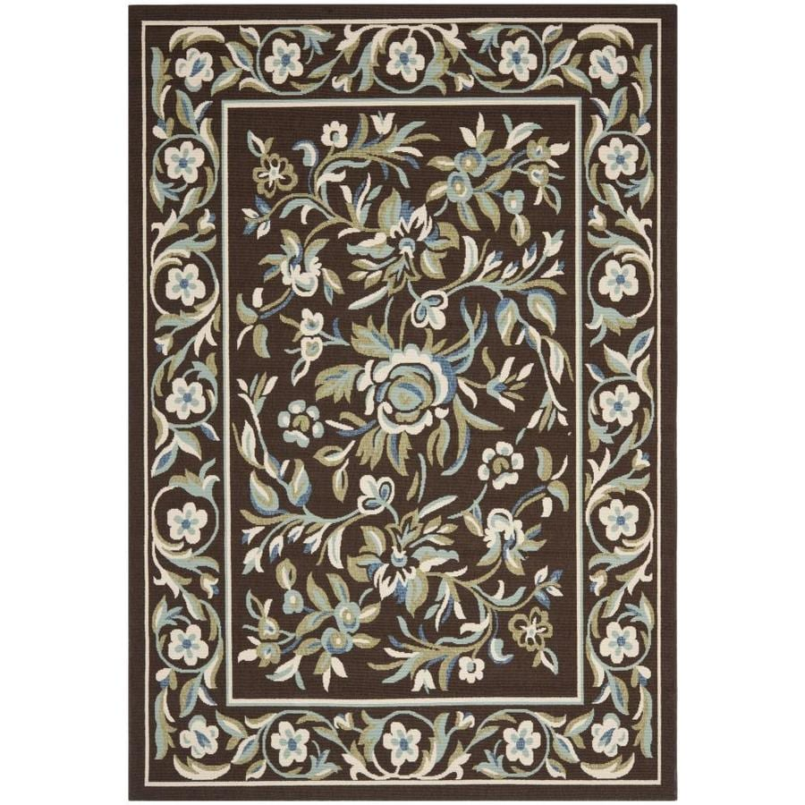 Safavieh Veranda Chocolate and Aqua Rectangular Indoor Machine-Made Area Rug (Common: 5 x 7; Actual: 63-in W x 91-in L x 0.42-ft Dia)