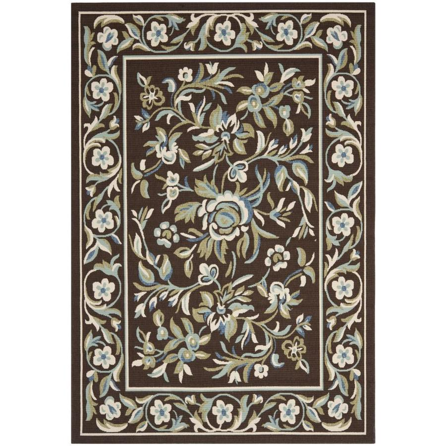 Safavieh Veranda Flora Chocolate/Aqua Rectangular Indoor Machine-made Area Rug (Common: 8 x 11; Actual: 8-ft W x 11.2-ft L)
