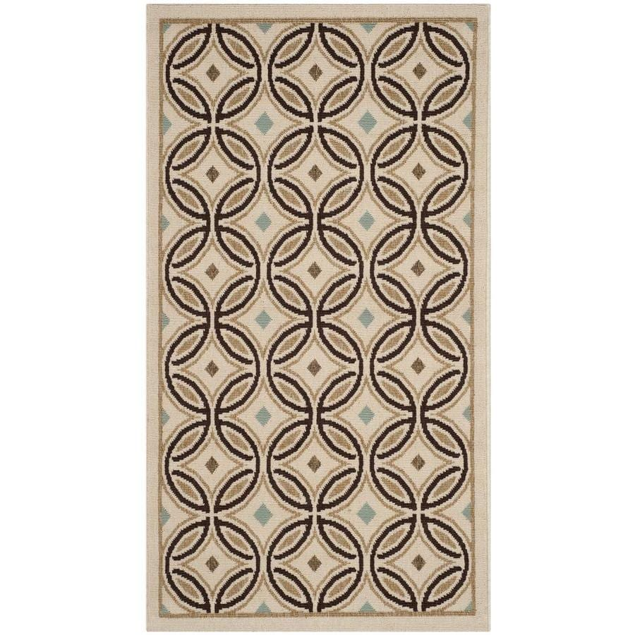 Safavieh Veranda Ziva Cream/Chocolate Rectangular Indoor Machine-made Area Rug (Common: 4 x 6; Actual: 3.5-ft W x 5.6-ft L)