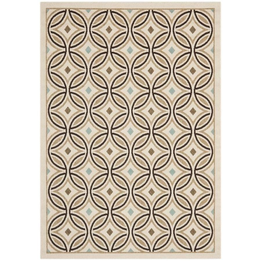 Safavieh Veranda Cream/Chocolate Rectangular Indoor Machine-Made Area Rug (Common: 5 x 7; Actual: 0.42-ft W x 5.25-ft L x 0.42-ft Dia)