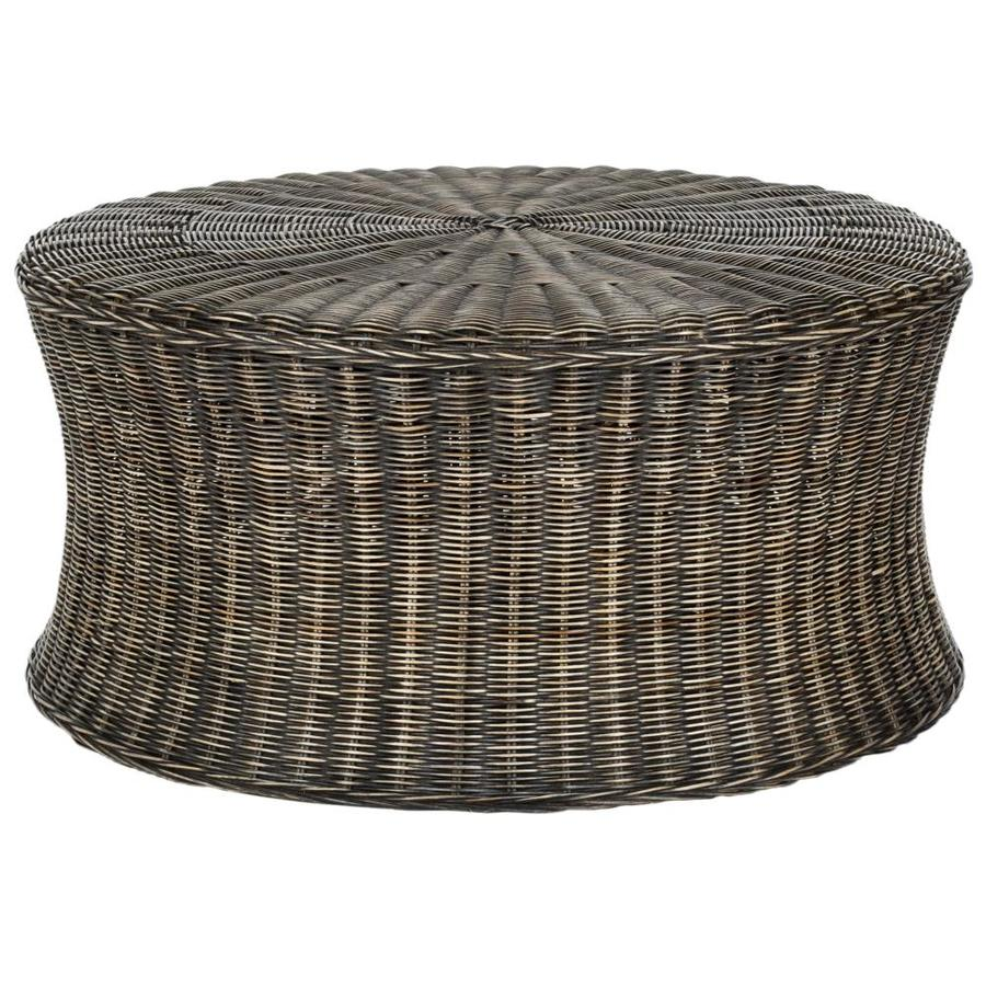 Safavieh Ruxton Coastal Dark Brown Round Ottoman