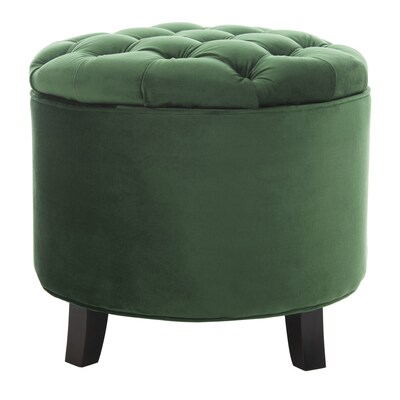 Superb Safavieh Amelia Casual Emerald Round Storage Ottoman At Evergreenethics Interior Chair Design Evergreenethicsorg