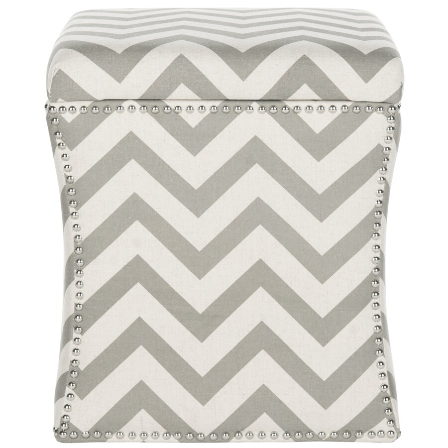 Safavieh Mercer Grey Zigzag Square Storage Ottoman