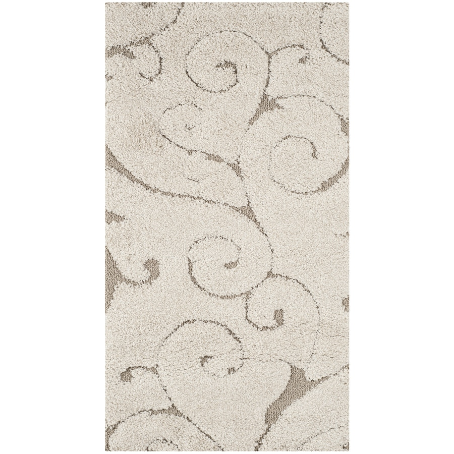 Safavieh Florida Scroll Shag Cream/Beige Indoor Tropical Throw Rug (Common: 2 x 4; Actual: 2.25-ft W x 4-ft L)