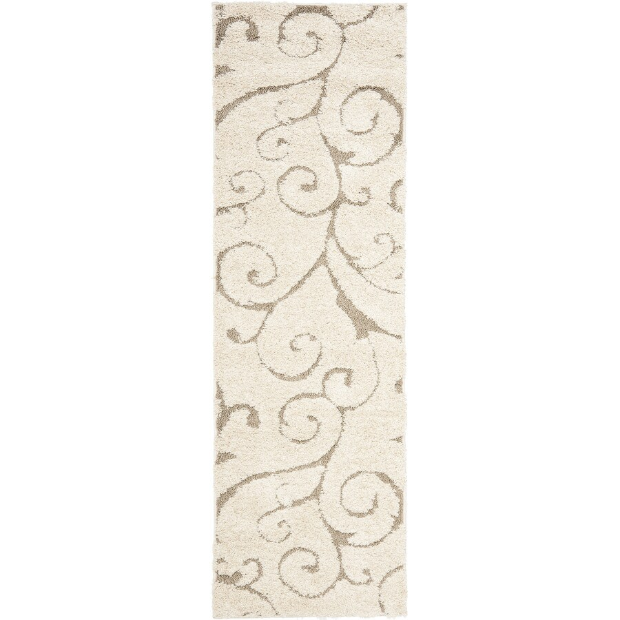 Safavieh Florida Scroll Shag Cream/Beige Rectangular Indoor Machine-made Tropical Runner (Common: 2 x 8; Actual: 2.25-ft W x 8-ft L)