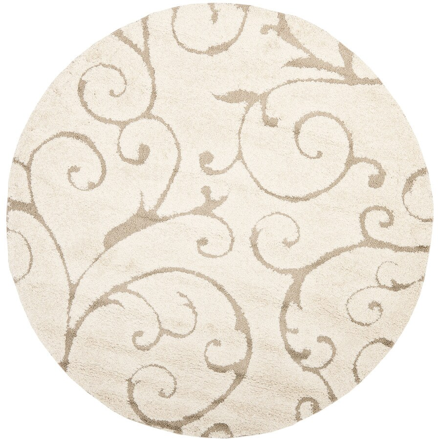 Safavieh Florida Shag Cream/Beige Round Indoor Machine-Made Coastal Area Rug (Common: 7.10 x 7.10; Actual: 8-ft W x 8-ft L x 8-ft Dia)