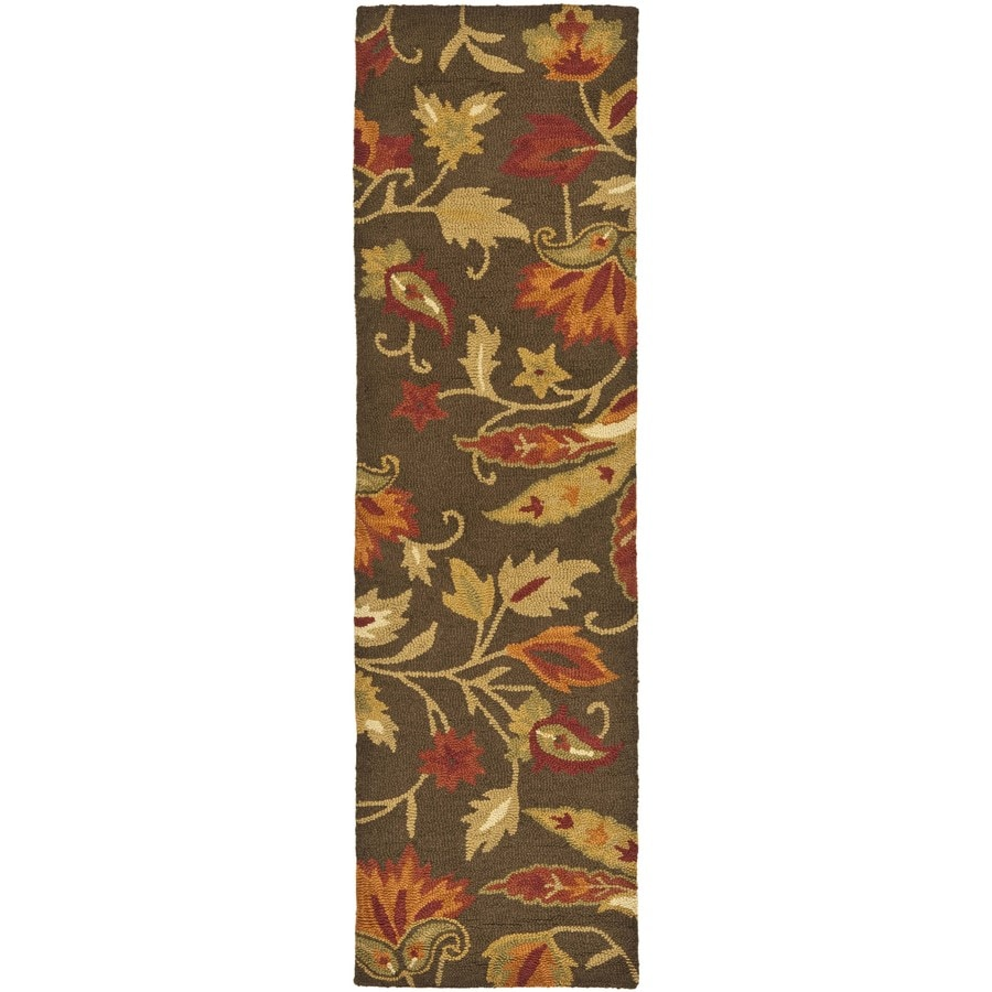 Safavieh Blossom Brown Hand-Hooked Wool Runner (Common: 2-ft x 8-ft; Actual: 2.25-ft x 8-ft)