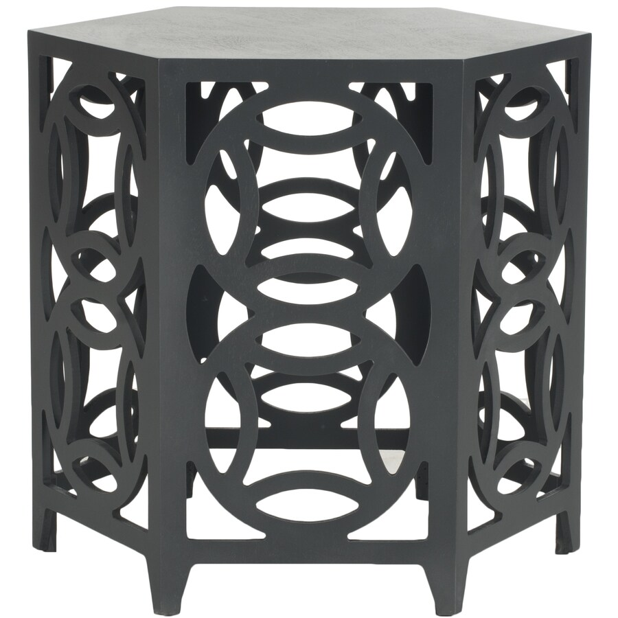 Safavieh American Home Charcoal Grey Asian Hardwood Round End Table
