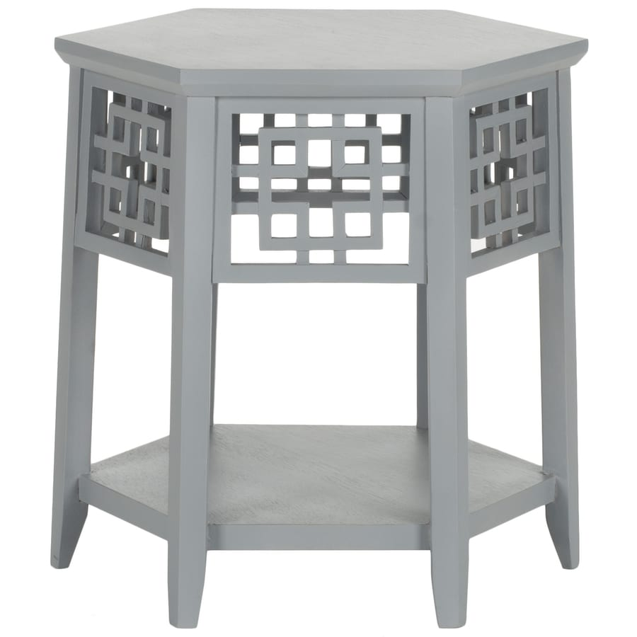 Safavieh American Home Blue Grey Asian Hardwood Round End Table