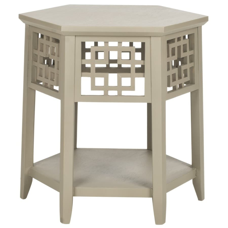 Safavieh American Home Pearl Grey Asian Hardwood Round End Table