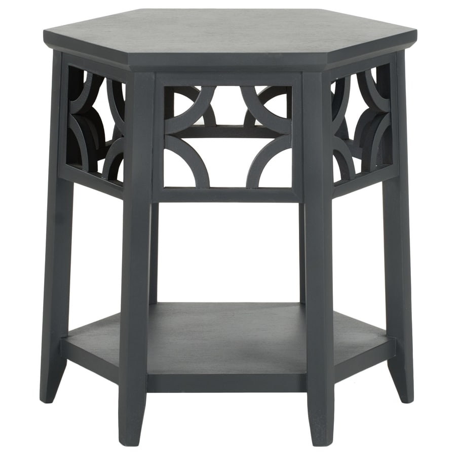 shop safavieh matthew charcoal gray wood asian end table. Black Bedroom Furniture Sets. Home Design Ideas