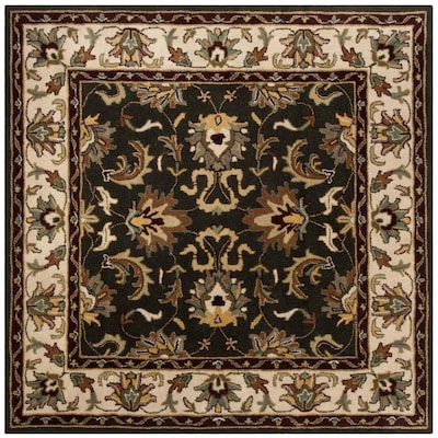 Safavieh Heritage Bhilai 6 X 6 Black Ivory Square Indoor Floral Botanical Oriental Handcrafted Area Rug In The Rugs Department At Lowes Com