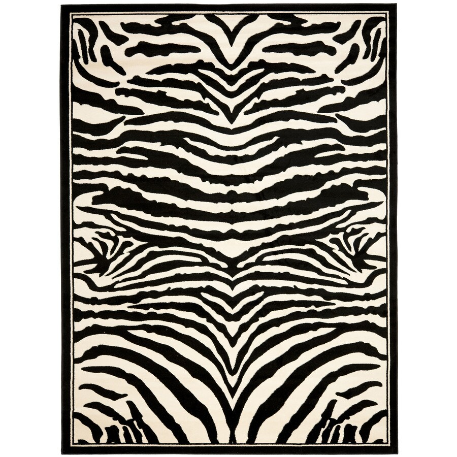 Safavieh Lyndhurst Zebra White/Black Rectangular Indoor Machine-made Animals Area Rug (Common: 3 x 5; Actual: 3.25-ft W x 5.25-ft L)