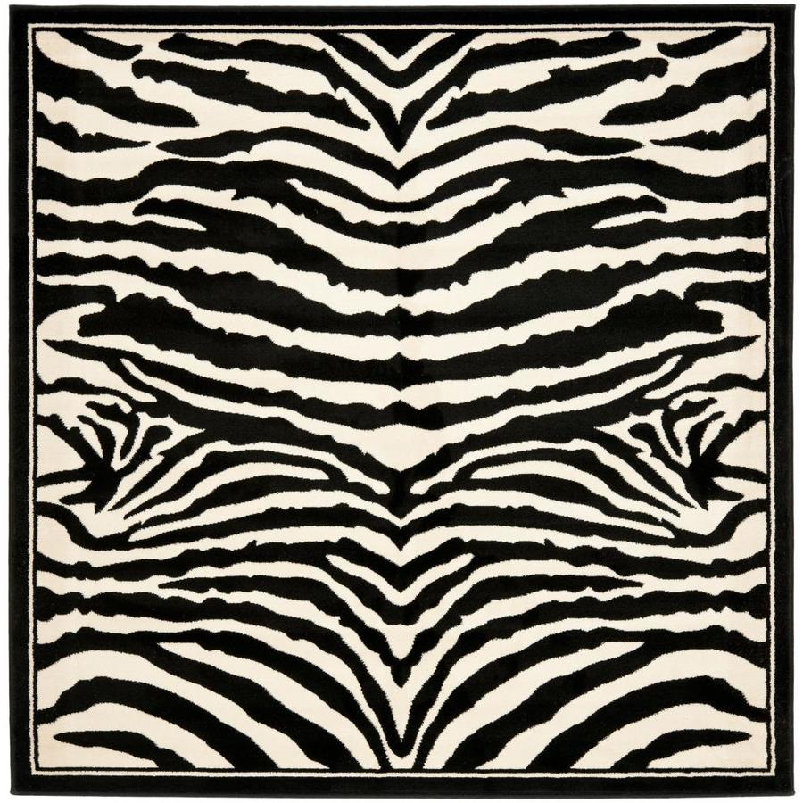 Safavieh Lyndhurst Zebra White/Black Square Indoor Animals Area Rug (Common: 6 x 6; Actual: 6-ft W x 6-ft L)